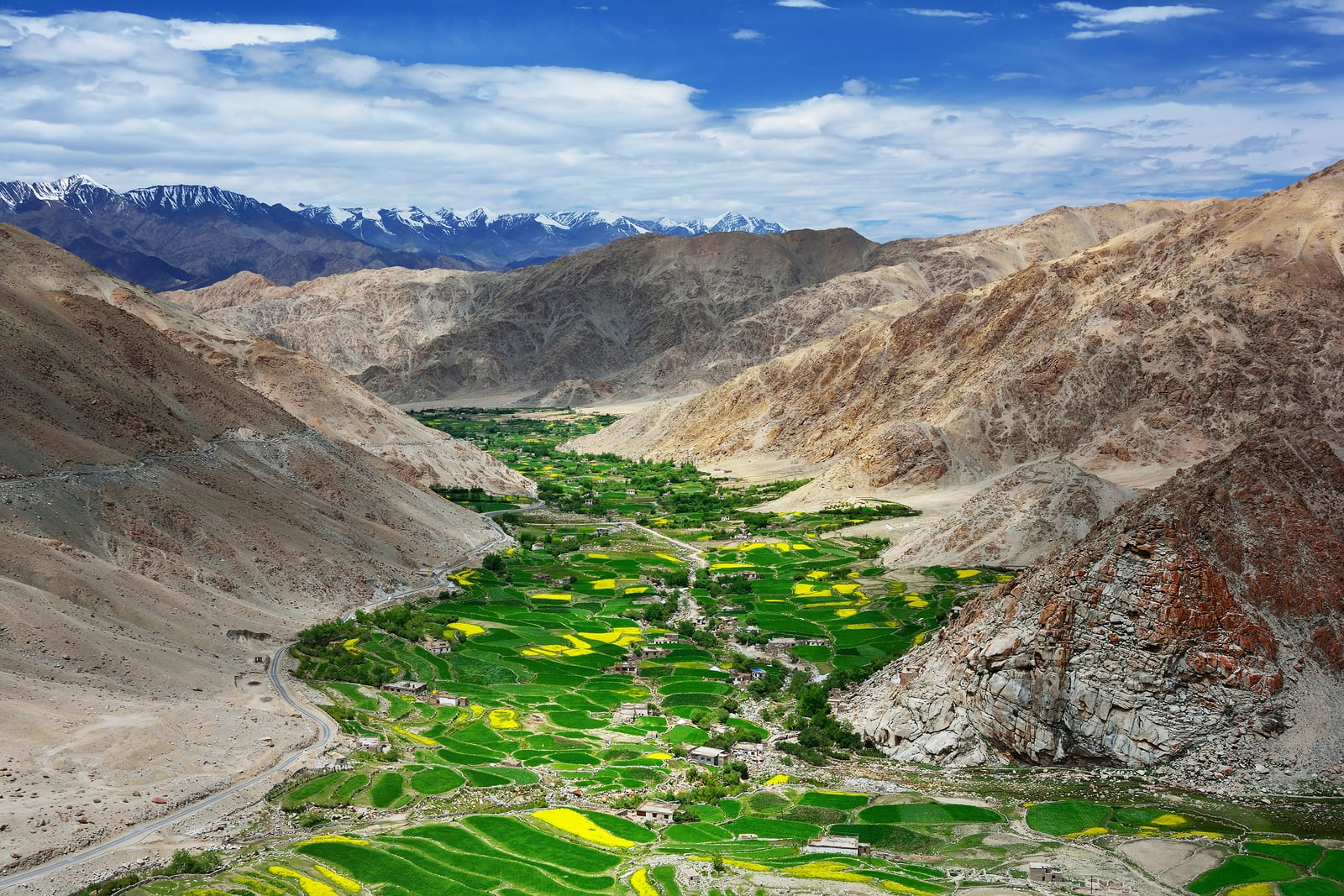 High mountains and green valley with farmland in Tibet