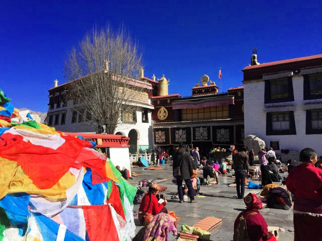 Barkhor Square in front of the Jokhang Temple in Tibet