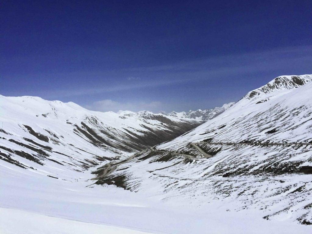 Mountain Road in Snow in Tibet