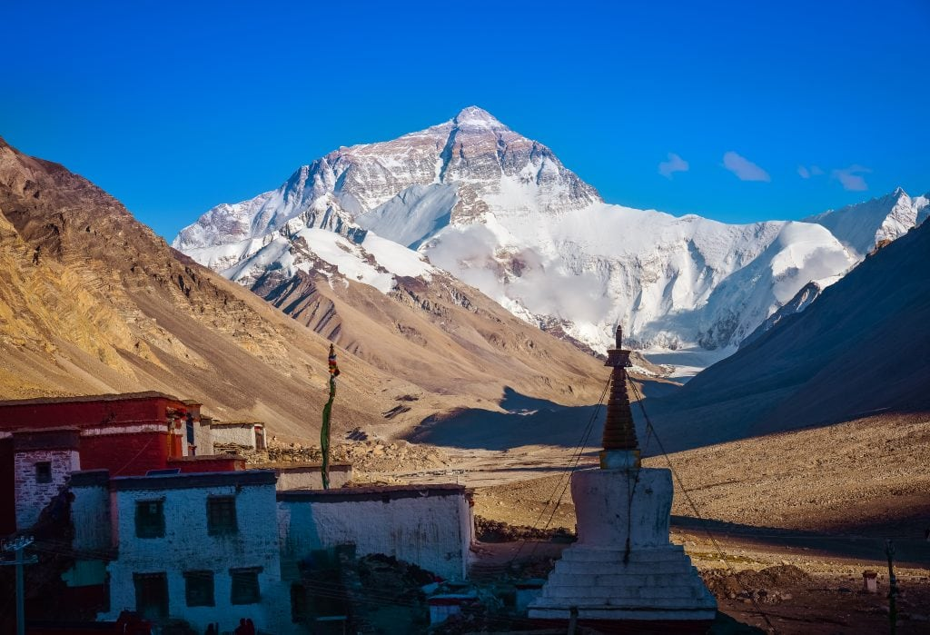 Mount Everest and Rongbuk monastery in Tibet