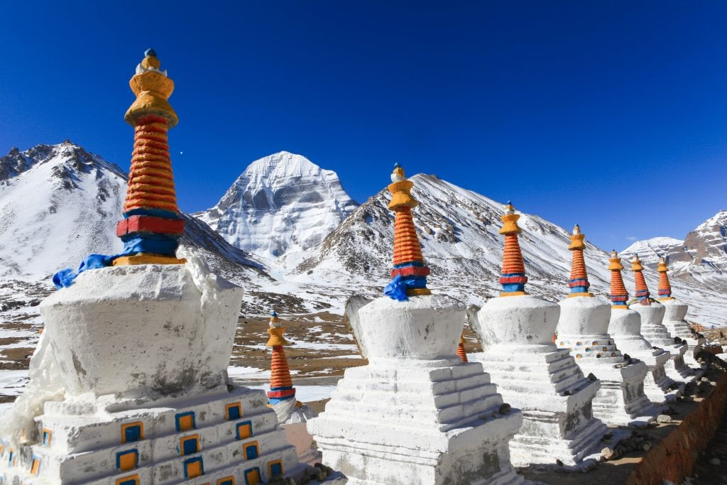 Stupas of The Dira Puk Monastery by the Kailash Mountain in Tibet