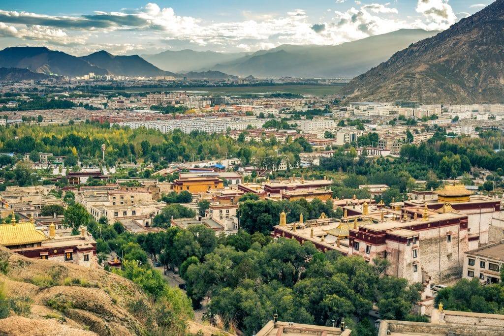 View on Lhasa and Sera Monastery from the mountain