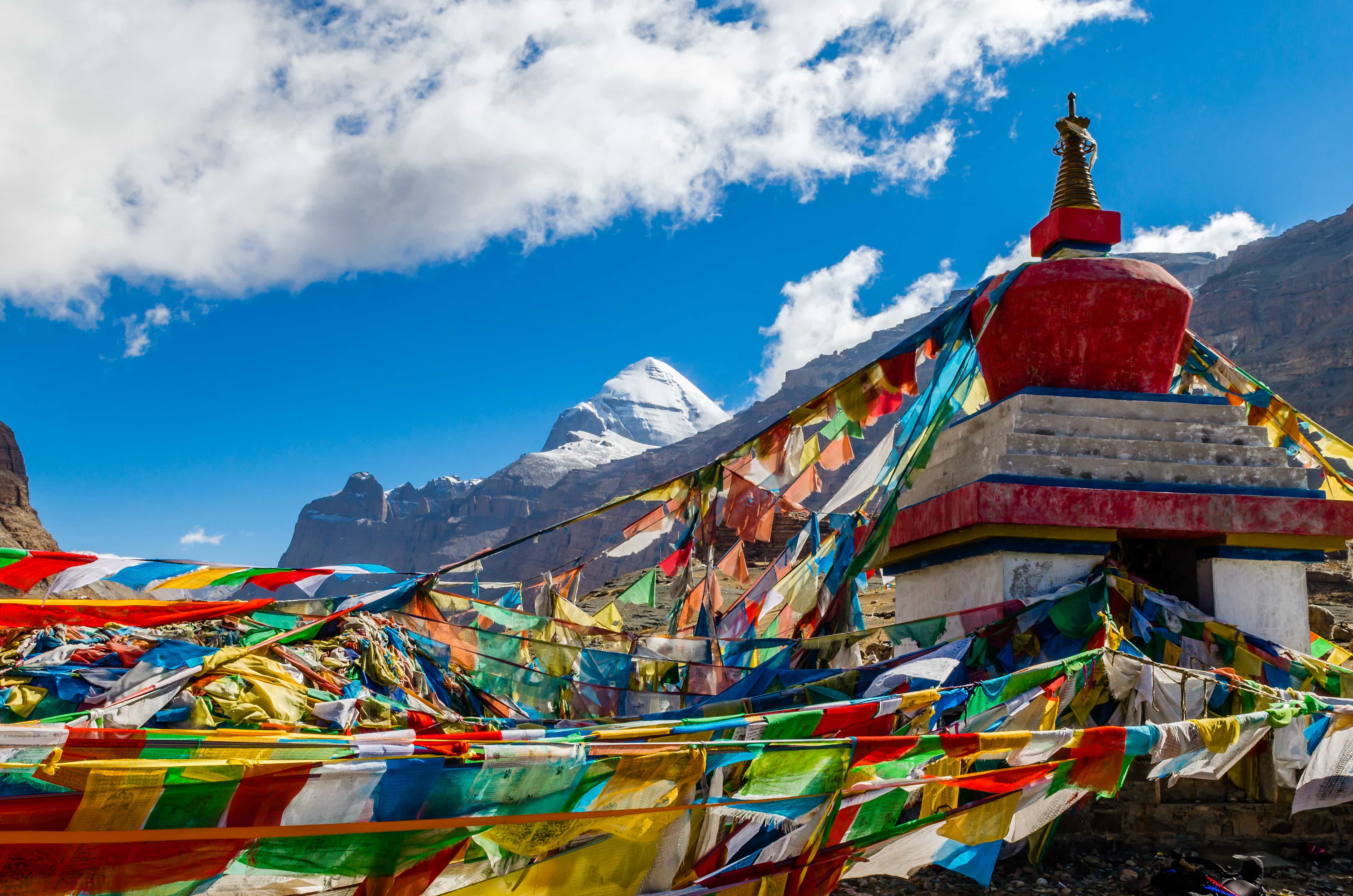 South face of Mount Kailash and stupa in Tibet