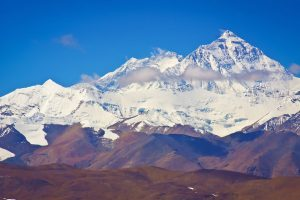 Everest and Lhotse mountain summits in Tibet