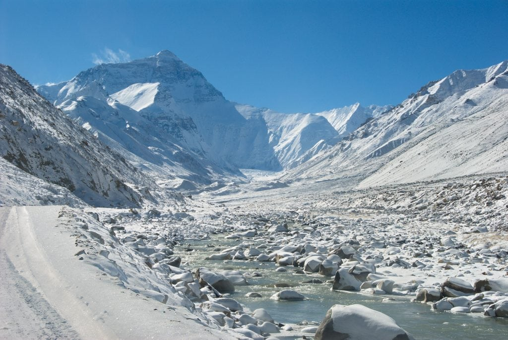 Everest with the snow covered valley