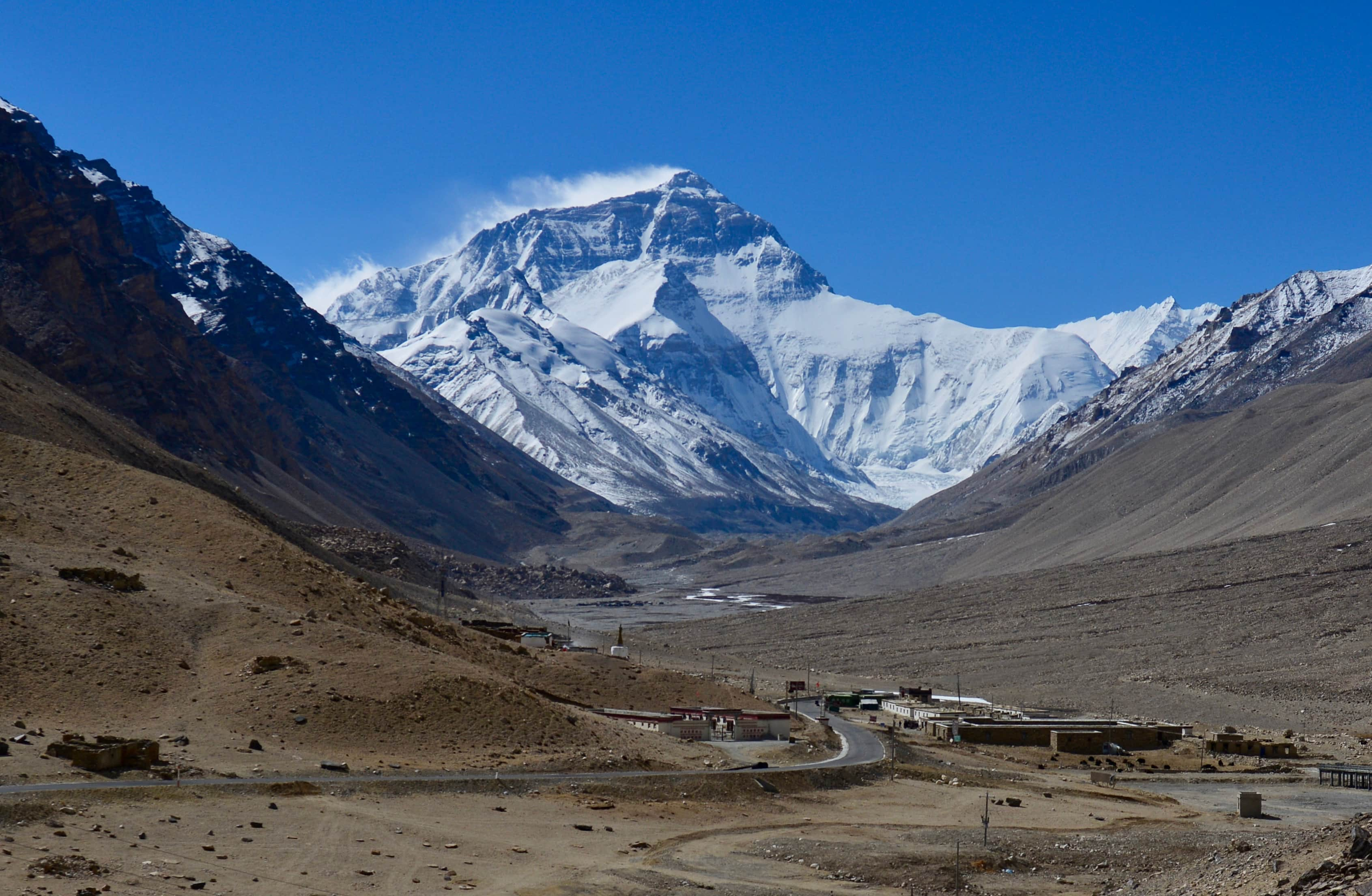 Rongbuk monastery and guesthouse with Everest view in Tibet