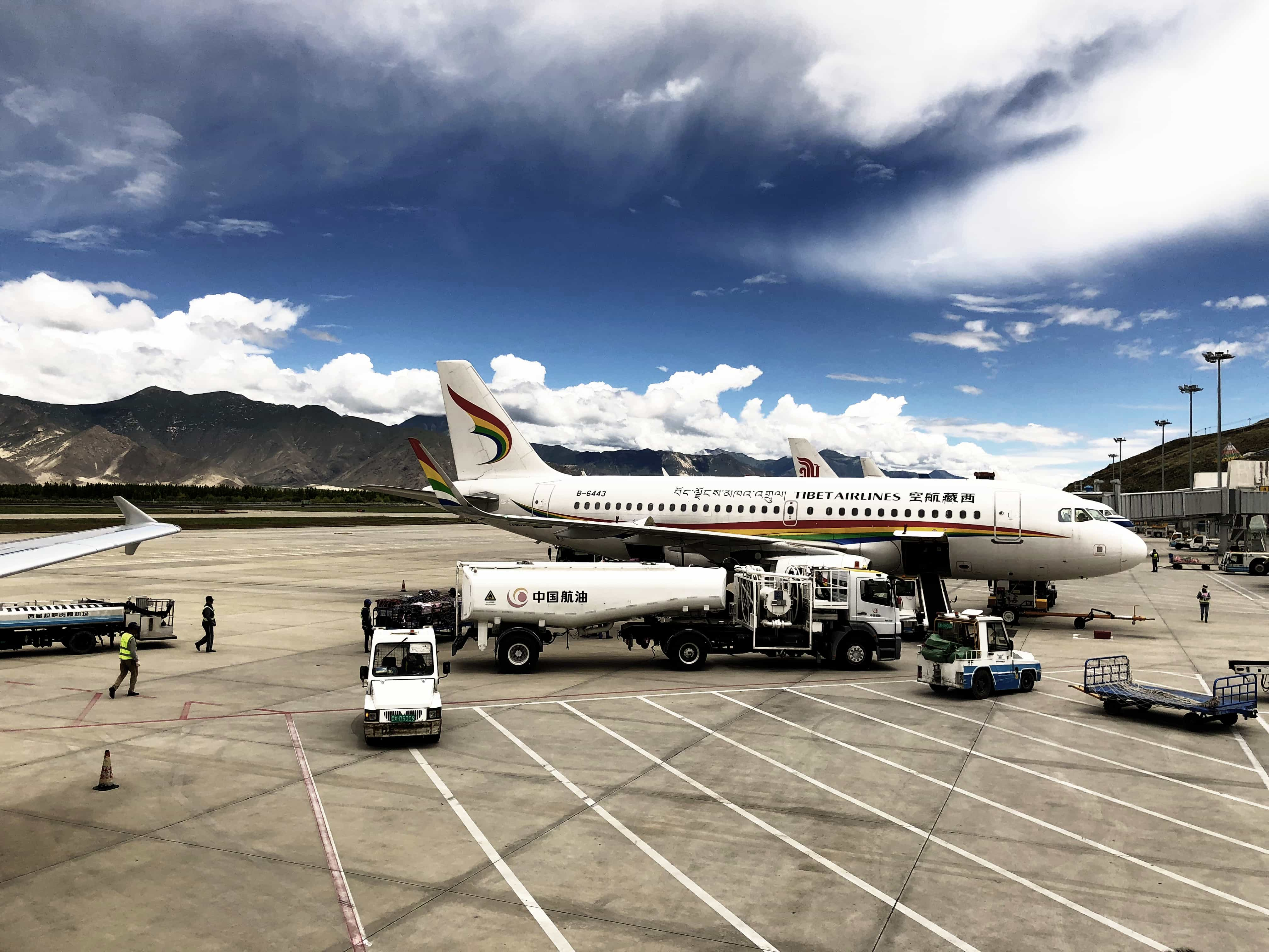 Tibetan airlines plane in Lhasa Gonggar airport in Tibet
