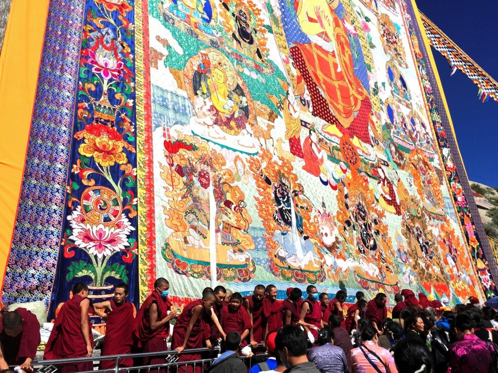 Shoton Festival Thangka Display in Sera Monastery, Lhasa