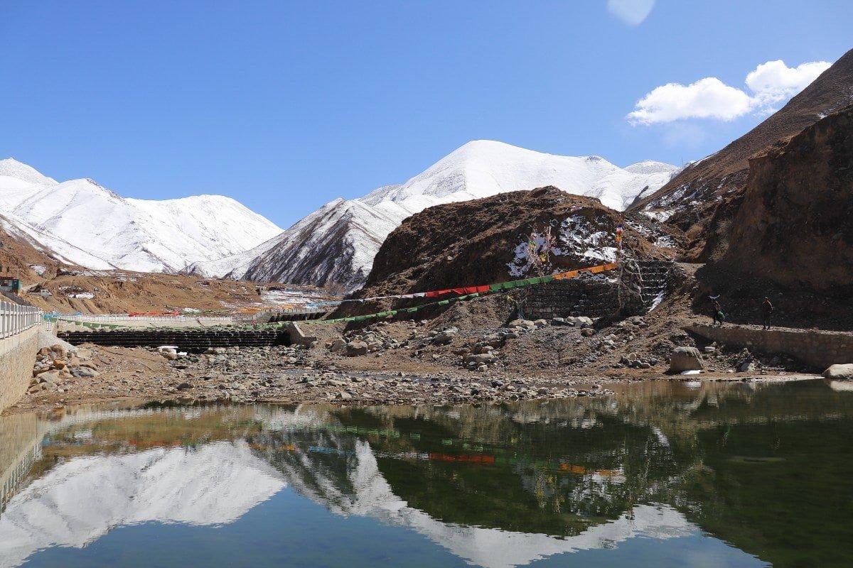 View on snowy mountains surrounding Lhasa