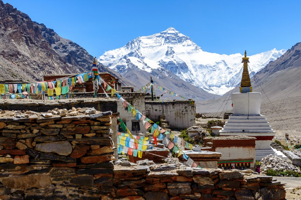 Rongbuk Monastery and Everest in the background Tibet side