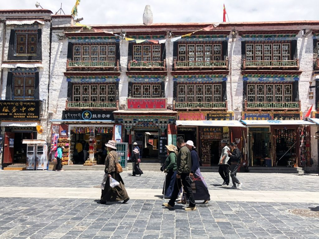 Small stores on the barkhor Street in Lhasa