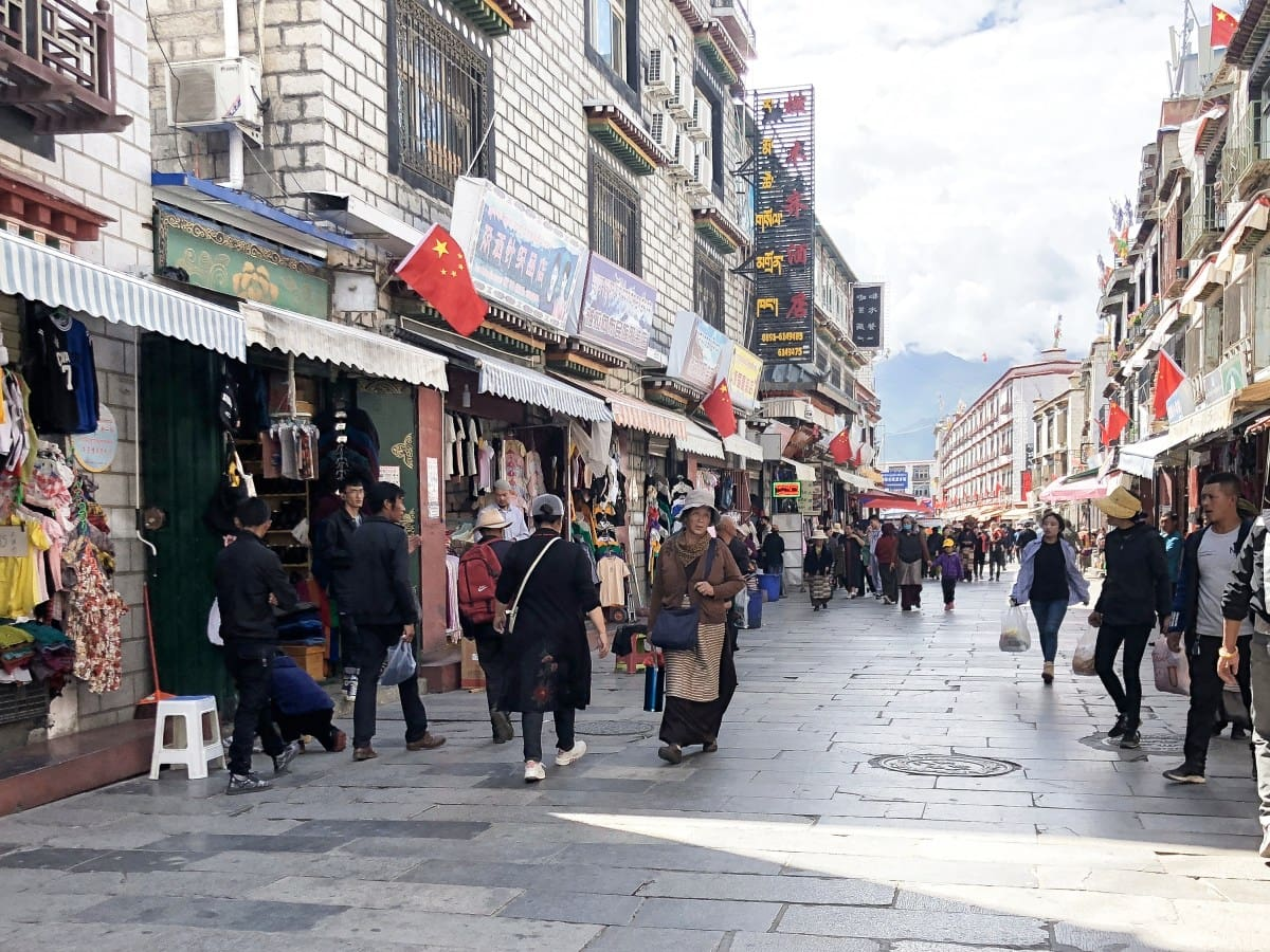 Stores lining the streets of Old Town in Lhasa, Tibet