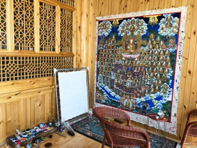 Thangka painting in process